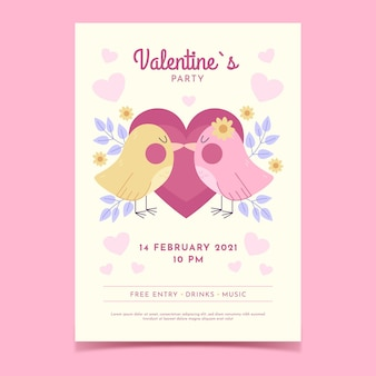Handgetekende valentijnsdag partij poster sjabloon