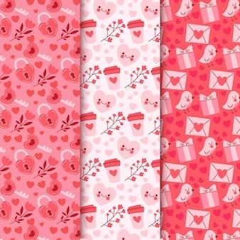 Handgetekende valentijnsdag patroon collectie