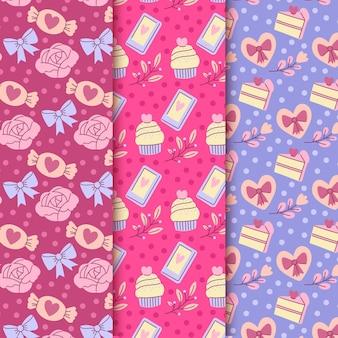 Handgetekende valentijnsdag patroon set