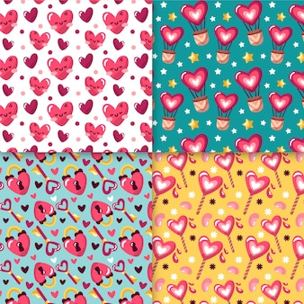 Handgetekende valentijnsdag patroon