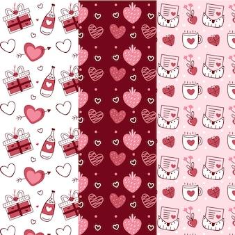 Handgetekende valentijnsdag patrooncollectie
