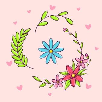 Handgetekende vector kleurrijke bloemenset voor het maken van kranscomposities