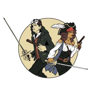 Handgetekende vector retro man en vrouw piraten brengen pistool en zwaard