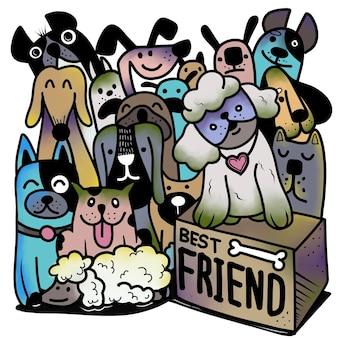 Handgetekende vectorillustratie van doodle dogs group, illustrator lijnhulpmiddelen tekenen, plat ontwerp