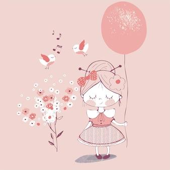 Handgetekende vectorillustratie van schattig meisje met ballon kan worden gebruikt voor kinderen of baby's shirt