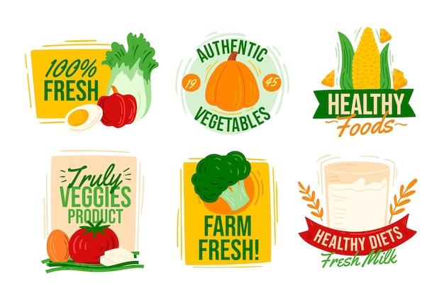 Handgetekende vegetarische badges