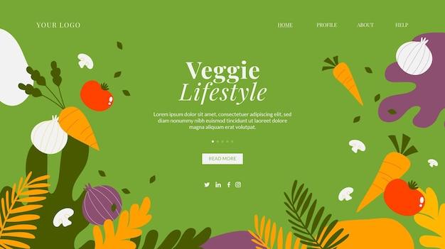 Handgetekende vegetarische bestemmingspaginasjabloon