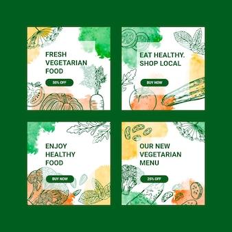 Handgetekende vegetarische instagramposts voor eten