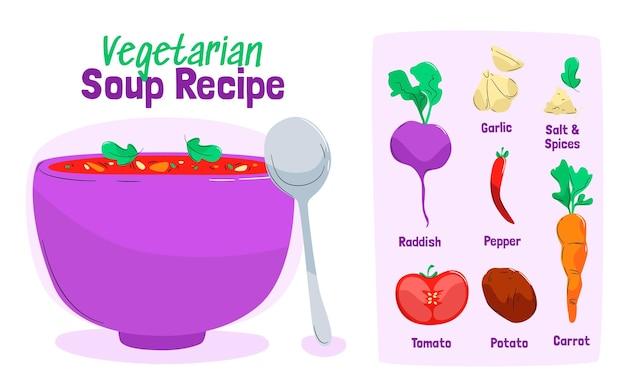 Handgetekende vegetarische receptsjabloon