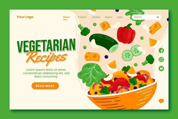 Handgetekende vegetarische voedselbestemmingspagina