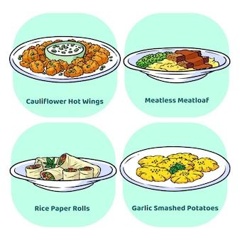 Handgetekende vegetarische voedselcollectie