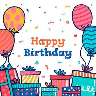 Handgetekende verjaardag achtergrond met cadeautjes en ballonnen