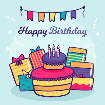 Handgetekende verjaardag achtergrond met cake