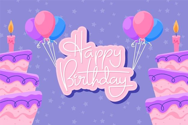 Handgetekende verjaardag achtergrond met cakes en ballonnen