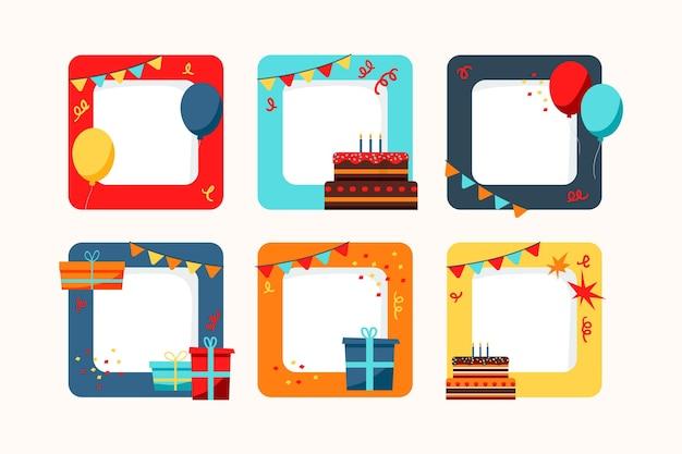 Handgetekende verjaardag collage frame-collectie
