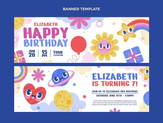 Handgetekende verjaardag horizontale banners