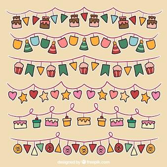 Handgetekende verjaardagsfeestje slingers