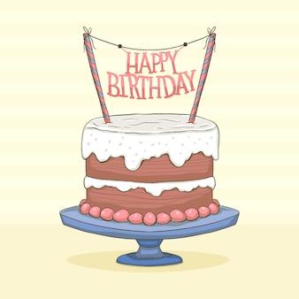 Handgetekende verjaardagstaart met topper