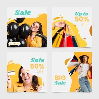 Handgetekende verkoop instagram postverzameling met foto
