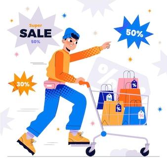 Handgetekende verkoopillustratie met karakters