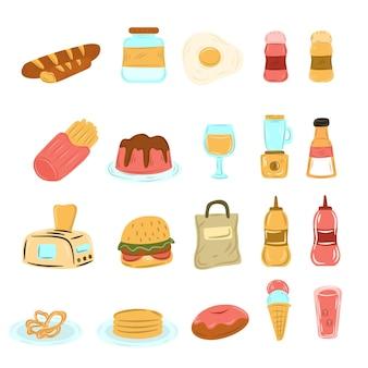 Handgetekende verschillende eten drinken doodle