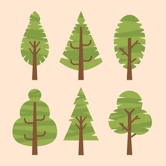 Handgetekende verschillende soorten bomen