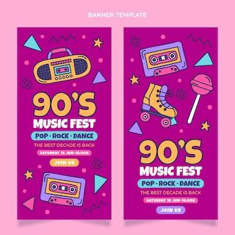 Handgetekende verticale banners voor muziekfestivals uit de jaren 90