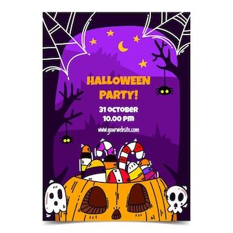 Handgetekende verticale flyer-sjabloon voor halloween-feest
