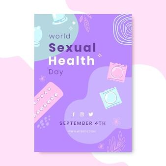 Handgetekende verticale flyer-sjabloon voor wereld seksuele gezondheid dag