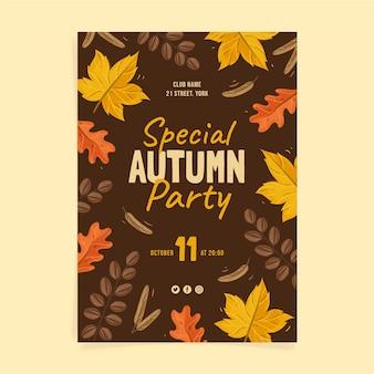 Handgetekende verticale herfst folder sjabloon