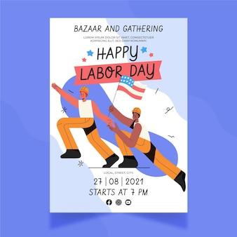 Handgetekende verticale postersjabloon voor de dag van de arbeid