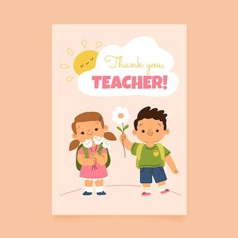 Handgetekende verticale postersjabloon voor lerarendag
