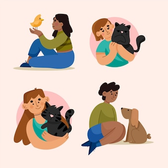 Handgetekende verzameling mensen met huisdieren