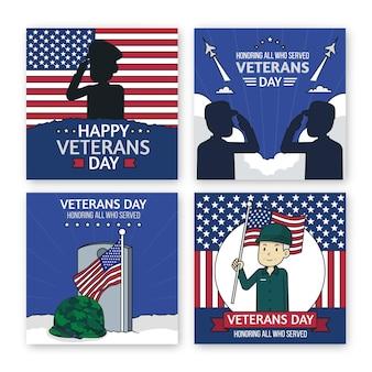 Handgetekende veteranendag instagram posts collectie
