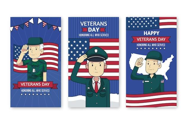 Handgetekende veteranendag instagram verhalencollectie