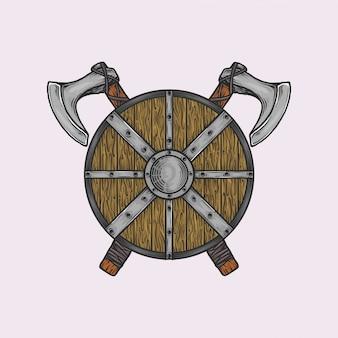 Handgetekende vintage bijl en schild van viking