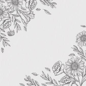 Handgetekende vintage botanische bloemenachtergrond