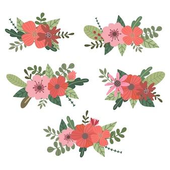 Handgetekende vintage florals boeket vector collectie voor decoratie artwork
