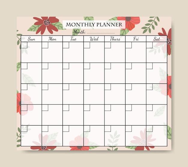 Handgetekende vintage florals maandelijkse planner sjabloon afdrukbaar