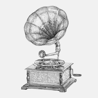 Handgetekende vintage grammofoon illustratie