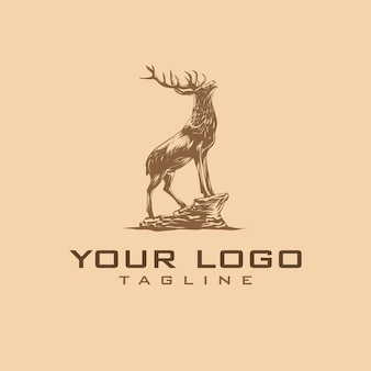 Handgetekende vintage herten logo