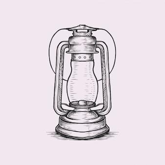 Handgetekende vintage lantaarn