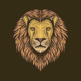 Handgetekende vintage leeuwenkop vectorillustratie