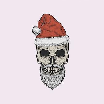 Handgetekende vintage schedel van de kerstman