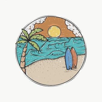 Handgetekende vintage zonsondergang strand vectorillustratie