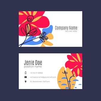 Handgetekende visitekaartjes met abstracte vormen