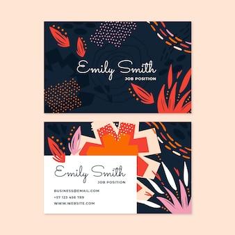 Handgetekende visitekaartjes met platte abstracte vormen