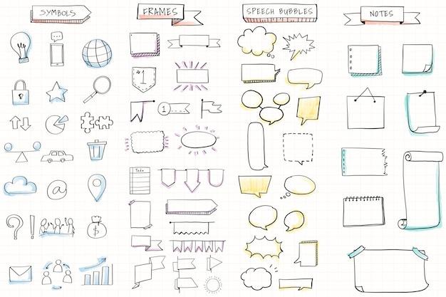 Handgetekende visuele denkelementen set