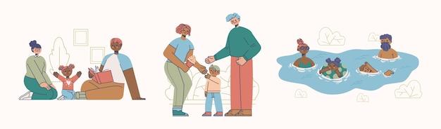 Handgetekende vlakke afbeelding van familiescènes