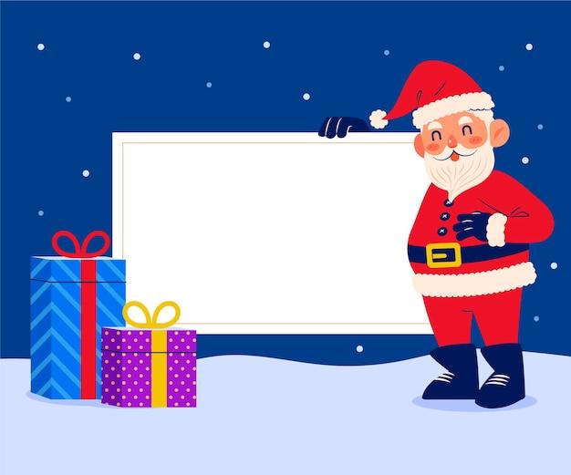 Handgetekende vlakke afbeelding van kerstkarakter met lege banner
